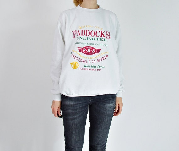 SALE! 80s vtg Paddocks Unlimited old school hipster streetwear sweatshirt made in Portugal