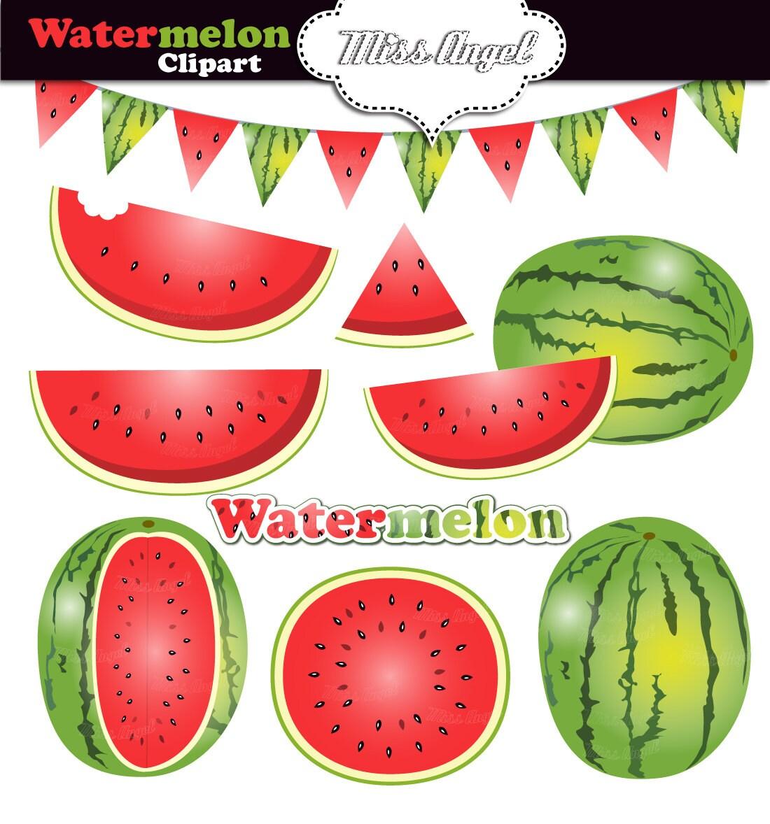Watermelon clipart summer fruits clipart digital fresh for Clipart frutta