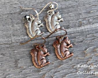 Squirrel Earrings, Squirrel Jewelry, Red Squirrel, Grey Squirrel, Squirrel Lover