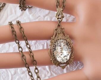 Crystal Necklace, Swarovski Crystal Necklace, Bronze Filigree Necklace, Swarovski Crystal Jewelry, Victorian Style Jewelry, April Birthstone