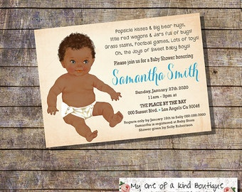African American baby Shower invitation shower party invite blue baby boy vintage digital printable invitation 13873