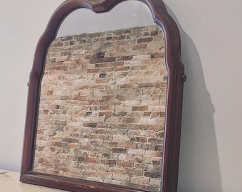 antique vintage wood apothecary hanging wall mirror