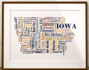 Iowa Map Color Typography Map Art,Iowa Cities & Towns Map Poster,Iowa Poster Print,Text Art Print,Word Map