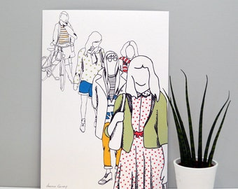 People Print - home decor - gifts for home - illustrative print