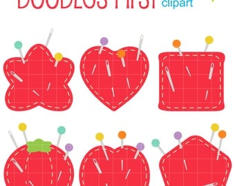 Pin Cushions Digital Clip Art for Scrapbooking Card Making Cupcake Toppers Paper Crafts