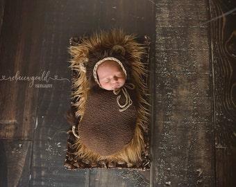 Handmade Crochet Lion Newborn Bonnet / Diaper Cover Set / Photo Prop Perfect Baby Shower Gift / under 50
