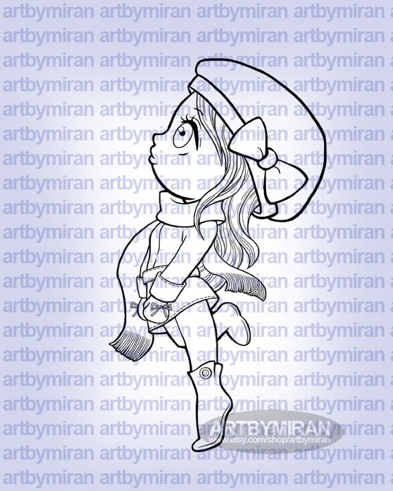 Winter Digital Stamp Coloring Page Girl Wear Hat And Scarf