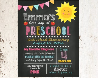 First Day of Preschool Sign, First Day of School Chalkboard Sign, Printable Photo Prop, Personalized Back to School, Sunshine