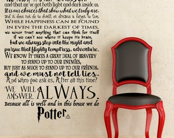 SMALL U0026 MEDIUM In This House We Do Potter, We Do Harry Potter Wall Decal