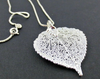 Silver Aspen Leaf Necklace/Genuine Aspen Leaf Necklace/Silver Electroplated Aspen Leaf/Real Leaf Jewelry/Botanical Jewelry/Bridesmaid Gift
