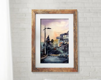 ORIGINAL Watercolor Painting, Cityscape Painting, Watercolor Moments - Twilight, 12.5x19.5''