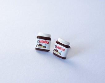 Nutella ear studs earrings kawaii sweet chocolate