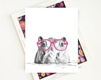 Kids Black and White Art Print, Safari Nursery Art Print, Black and White Animal Art Print, Hippo Nursery Art Print, 8x10 Printable Art