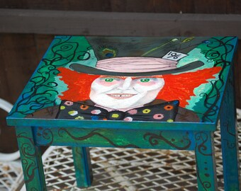 Hand painted  Alice in wonderland / Mad Hatter small table
