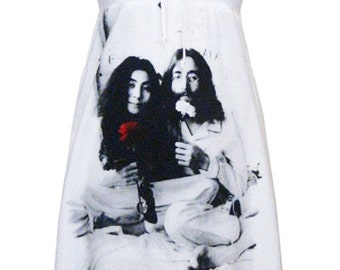 John Lennon Yoko Ono Peace Love Bandeaux Strapless Mini Dress