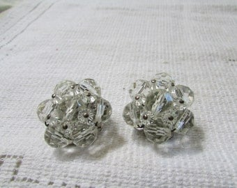 vintage crystal cluster clip on earrings 50's classics