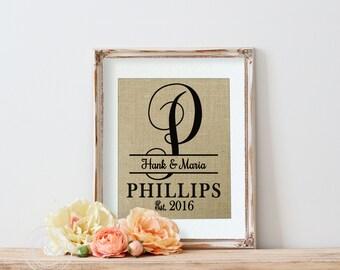 Burlap Wedding Gift, Personalized Burlap Monogrammed Print, Burlap Family Name Sign