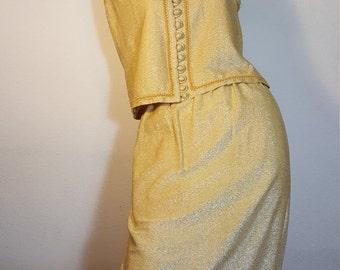 FREE  SHIPPING  1950 Gold Lurex Suit