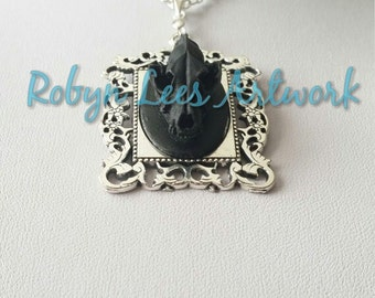 Black Resin Wolf Skull Necklace in Silver Victorian Filigree Frame on Silver Chain or Black Faux Suede Cord, Anatomical