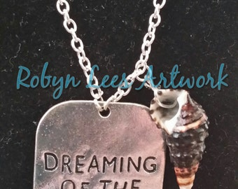 Dreaming of the Sea Silver Necklace with Black Conch Shell - With or Without Freshwater Pearls