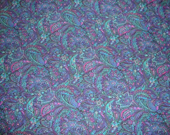 Rayon or Blend VERY FLUID Dress Weight Fabric Teal and Purple Paislies n Floral Print on Black Field 40 Inches Wide Selling by the Yard