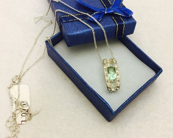 Vintage Silver Toned and Rhinestone Pendant Necklace