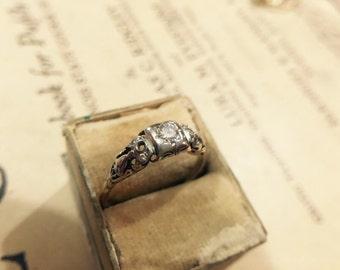 Vintage 14K Ring-O-Romance Diamond Engagement Ring - Size 7.5