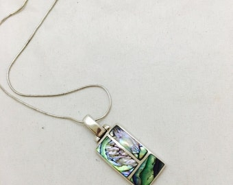 Vintage Sterling Silver and Abalone Pendant Necklace