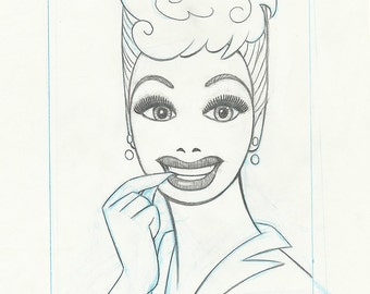 Mod LUCILLE BALL original pencil drawing for the US postage stamp