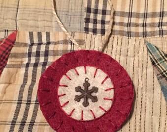 Burgundy Felt Snowflake Penny Ornament