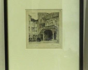 Vintage Estate Signed Max Pollack Framed Original Pencil Art Prints.