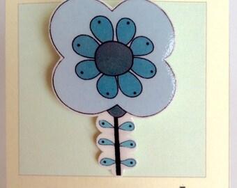 Blue Retro Flower Pin Brooch