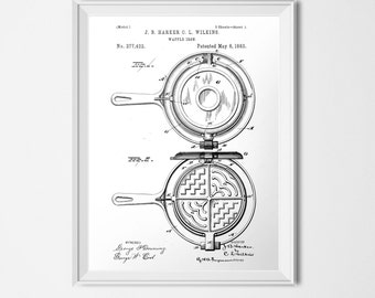 Waffle Iron Patent, Cooking INSTANT DOWNLOAD, Waffle Printable, Black & White, Vintage Kitchen Print, 18x24 Poster, Patent Illustration