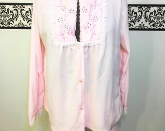 1960's Vintage Pink Flannel Pajama Set by Movie Star,  Size Medium, Vintage Pink Flannel Pajamas, 60's Boudoir PJs, 60's Boudoir Pajamas