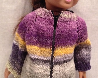 """18"""" Doll Sweater: Striped sweater jacket with zipper front"""