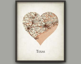 Texas State Map Print - Love Heart Texas - Texas Travel Poster - Texas United States - Travel Gift Idea - Texas State Gift Idea