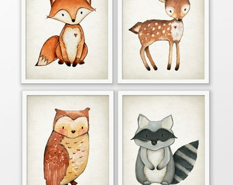 Woodland Watercolor Animals Nursery Prints Set Of 4 - Fox Deer Owl Raccoon Playroom Decor - Forest Animal Pictures - Watercolour Wall Art #1