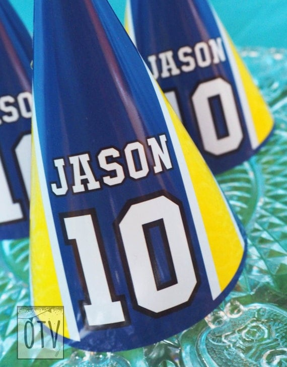 FOOTBALL - Soccer - Children's - Boys - Birthday - Party HATS - Yellow - Blue - Personalised - PRINTABLE - Pdf - Digital File