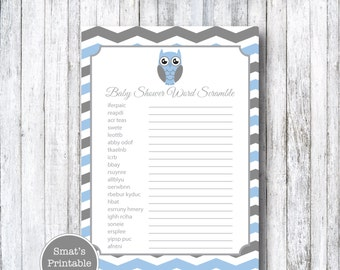 Blue Owl Baby Shower Word Scramble Game Cards   PRINTABLE Chevron Theme    Blue   Instant