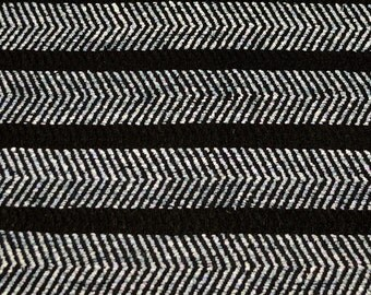 "Black & White Raw Stripes 100% Raw Silk Fabric, 44"" Wide, By The Yard (WT-212)"