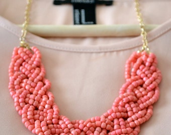 Coral Bold Braid Necklace, Coral Pink Statement Necklace, Bib Necklace, Braided Necklace, Beaded Necklace, Chunky Necklace, Coral Jewelry