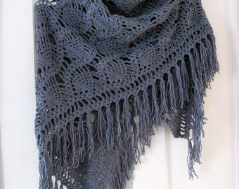 MADE TO ORDER/Crocheted Shawl/ Pineapple motif/ Shawl/ Triangle Scarf/Wrap