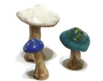Ceramic mushroom trio - mushrooms - fairy mushrooms - terrarium mushrooms