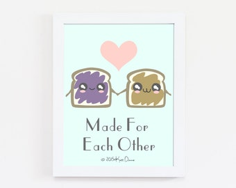 Kitchen Art, Peanut Butter and Jelly, Funny Poster, Kitchen Wall Art,  Illustration, PB and J, Food Print