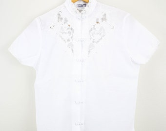 Vintage White Ladies Embroidered Lace Accented Blouse