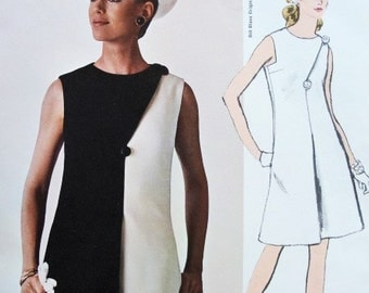 60s Elegant Bill Blass Dress Pattern VOGUE AMERICANA 1972 Day or Evening Includes Two Tone Version Vintage Sewing Pattern Bust 34 UNCUT