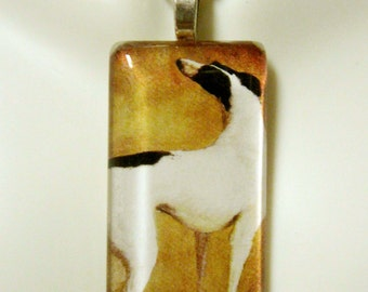 Black and white greyhound pendant and chain - DGP02-296