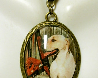 Yellow lab at the hunt pendant with chain - DAP09-122