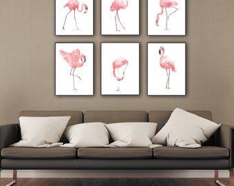 Flamingo Clipart set 6 Flamingos Art Print, Baby Girl Pink Nursery Room Decoration, Kids Wall Watercolor painting, Animal Living Room Decor