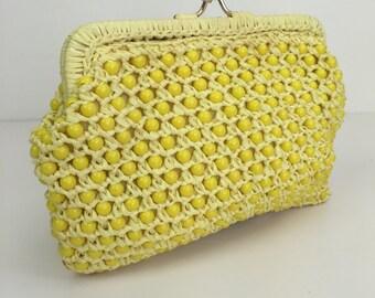 yellow beaded raffia clutch 60s
